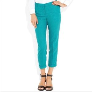 J. Crew Cafe Capri Wool Trouser Teal Blue